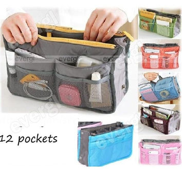 Hot sale Women's Zipper handbags 12 Pockets with 5 colors Lady Luggage Traveling Bags = 1753787460