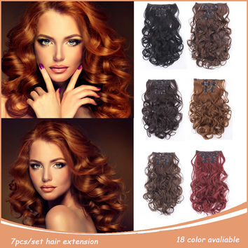 """Clip In Hair Extensions 7pcs/set 20"""" 50cm 999 False Hair 22 colors 20"""" Long Wavy 120g Natural Curly Hairpieces Hair Extensions"""