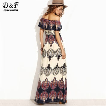 Dotfashion Bohemian Style Maxi Dress Beach Dress S