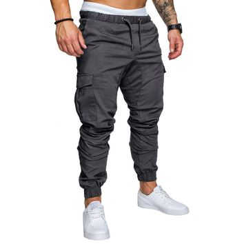 6 Colors Men's Cargo Pants Pocket Safari Style Casual Drawstring Elastic Waist Hip Hop Sweatpants Joggers Street wear Trousers