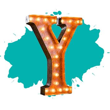 "24"" Letter Y Lighted Vintage Marquee Letters (Rustic)"