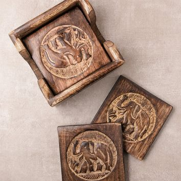 Wooden Elephant Coaster Set