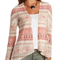 Knit Aztec Print Open Cardigan by Charlotte Russe - Multi