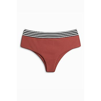 Raz Ribbed Mid Rise Cheeky Bikini Bottom - Brick Haus