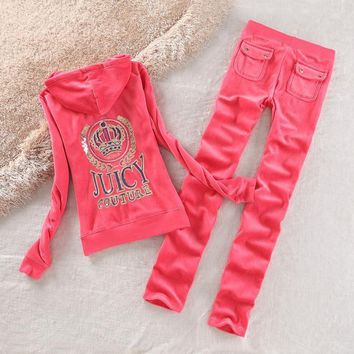 Juicy Couture Logo Crown Velour Tracksuit 2192 2pcs Women Suits Red