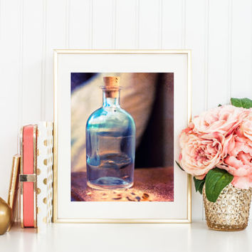 Summer print, surreal photograph, fine art photography, summer in a bottle, sand, footprint, shells, nostalgia, beach scene, blue, brown