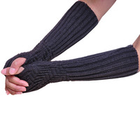 Warm Solid Color Women Girl Fingless Knitted Long Gloves Female INY66