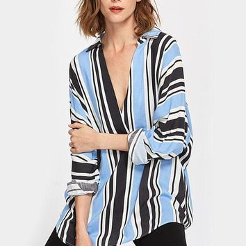 Buttoned Back Mixed Stripe Plunge Blouse Women's V Neck Long Sleeve Casual Blouse Fall Sexy Work Wear Top