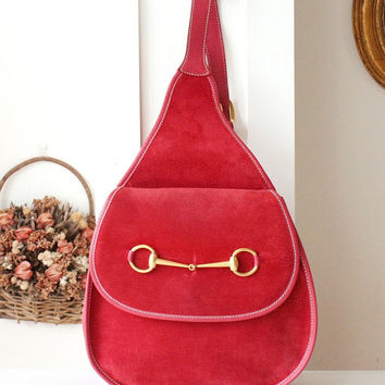 Authentic Gucci Backpack Red Suede vintage handbag Horsebit Sling Bag