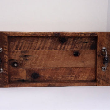 Barn wood rustic serving tray with handles, reclaimed barn wood tray, breakfast in bed