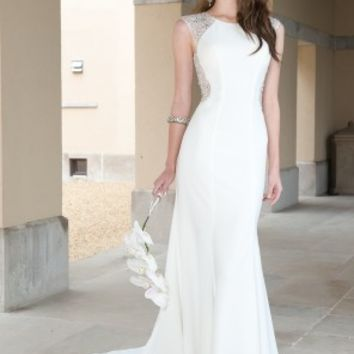 Crepe Illlusion Wedding Dress with Sweeping Train