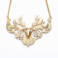 Golden Color Deer Head with Cut Out Design Necklace
