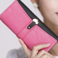 Fashion Heart Buckle Leather Wallet for Women