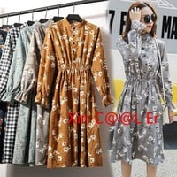 High Quality !!2018 Fashion New Spring Autumn Women Long Sleeved Dress Retro Collar Casual Slim Dresses Floral Print Style Cute