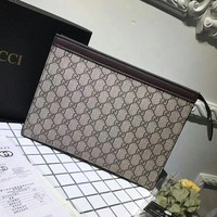 GUCCI Trending Woman Men Letter Print Zipper Envelope Clutch Bag Leather File Bag Tote Handbag I