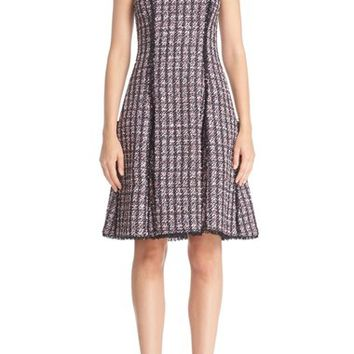 Oscar de la Renta Eyelash Trim Sequin Tweed Dress | Nordstrom