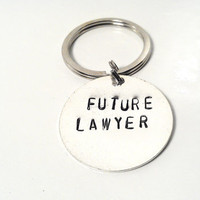 Future Lawyer Keychain Graduation Silver Custom Personalized Unisex Men Man Dude Guy Women Law School Student Grad Attorney Recognition Gift