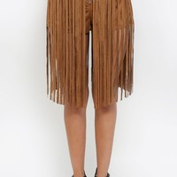 Long Fringe Suede Shorts