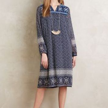 KAS New York Grazia Midi Dress in Blue Motif Size: