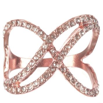 Rose Gold Crystal Stone Crisscross Ring