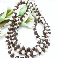 Garnet Gemstone Nugget White Freshwater Pearl Long Necklace 41 Inch