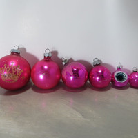 Vintage Christmas Tree Ornaments Hot Pink Ornaments Metallic Ornaments Retro Christmas Holiday Decor Glass Ornaments