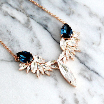 Blue Navy Necklace, Bridal Necklace, Bridal Statement Necklace, Dark Navy Necklace, Swarovski Crystal Bridal Blue Necklace, Blue Necklace