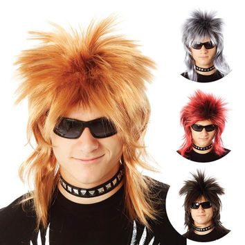 Wild Smart Perruque Punk Rock Spiky Mix Color Ladies Men Rock Star Diva 1980s Costumes and Accessories Cosplay Synthetic Hair