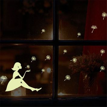 Noctilucence Wall Stickers Girl Dandelion glow in the dark for kids rooms Art Sticker PVC Decals wallpaper House Home Decoration