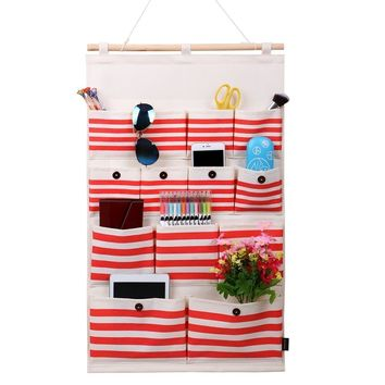 Homecube Linen/Cotton Fabric 13 Pockets Wall Door Closet Hanging Storage Bag Organizer,White Polka Dots/Navy Stripe (Deep Red Stripe)
