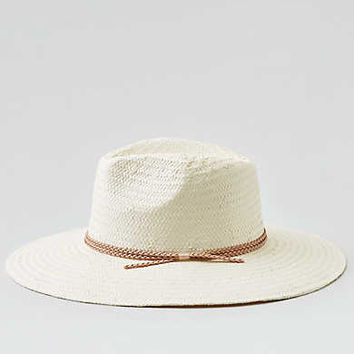 AEO White Wide Brim Panama Hat , White