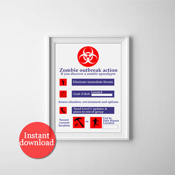 Printable zombie halloween safety poster. Zombie apocalypse, halloween decor printable. Halloween and mancave art, prints for zombie lovers.