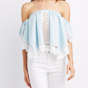 Crochet-Trim Off-The-Shoulder Top