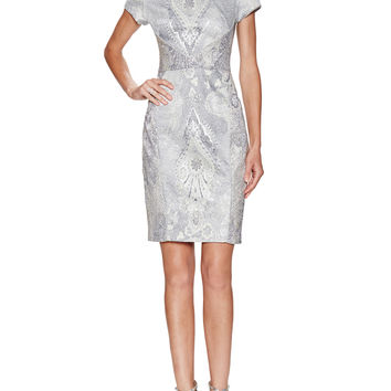 Metallic Paisely Jacquard Cocktail Dress