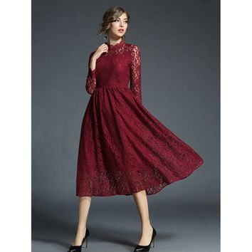 Red Scallop Neck Lace Dress