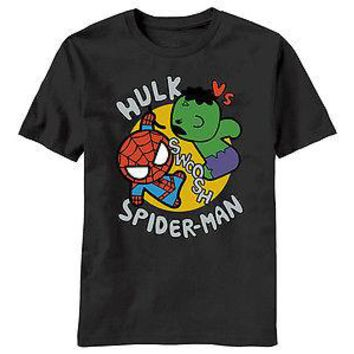MARVEL KAWAII TOY HULK VS SPIDER-MAN - BLACK Adult Licensed T-Shirt - S-2XL