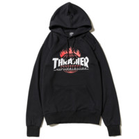 Thrasher Women Men Fashion Print Long Sleeve Hoodies Sweater Black