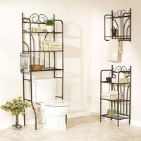 Over Toilet Bathroom Storage Space Saver Shelves Towel Rack Wall Mount Metal NEW