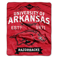 Arkansas Razorbacks NCAA Royal Plush Raschel Blanket (Label Series) (50x60)