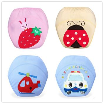 HOT 2016 NEW 1Pcs Cute Baby Cotton Training Pants Baby Reusable Diapers Cloth Diaper Washable Infants Nappies Diapers ED251WD