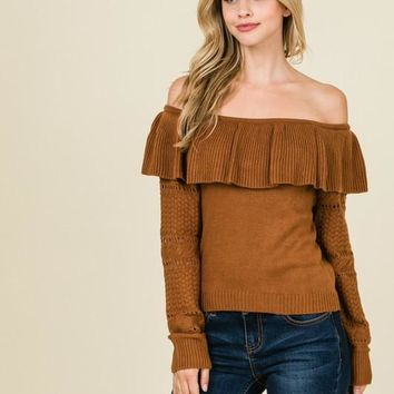 Off the Shoulder Cable Knit Sweater - Sienna
