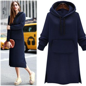 VONEC4W Winter Plus Size Women's Fashion Thicken Hoodies Dress One Piece Dress [9439563396]