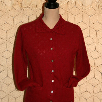 Red Wool Cardigan Red Sweater Red Cardigan 80s Sweater Wool Sweater Angora Lace Collar 1980 Grunge Sweater Size Small Medium Womens Clothing