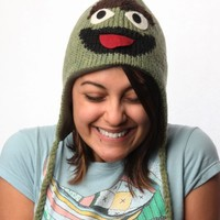 Sesame Street Oscar The Grouch Adult Wool Pilot Hat with Ear Flaps