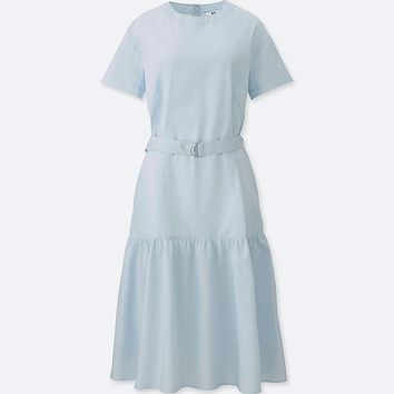 WOMEN TIERED SHORT-SLEEVE DRESS
