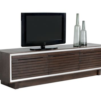 JAKAR SOLID ESPRESSO WOOD WITH OAK VENEER WITH STEEL BORDER MEDIA STAND