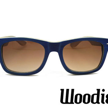 Navy Bamboo Wood Sunglasses