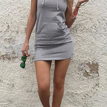 Grey Front Pocket Hoodie Mini Dress