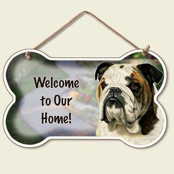 Decorative Wood Sign: Welcome to Our Home sign- Bulldog