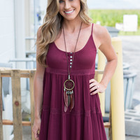 Hannah Sleeveless Tiered Dress - Maroon